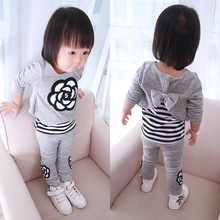 Lanzoom 2017 Baby Girls Clothing Sets Newborn Tracksuits Striped Flower Tops +Pants Infant 2pcs Sport Suit Baby Colthes Set(China)