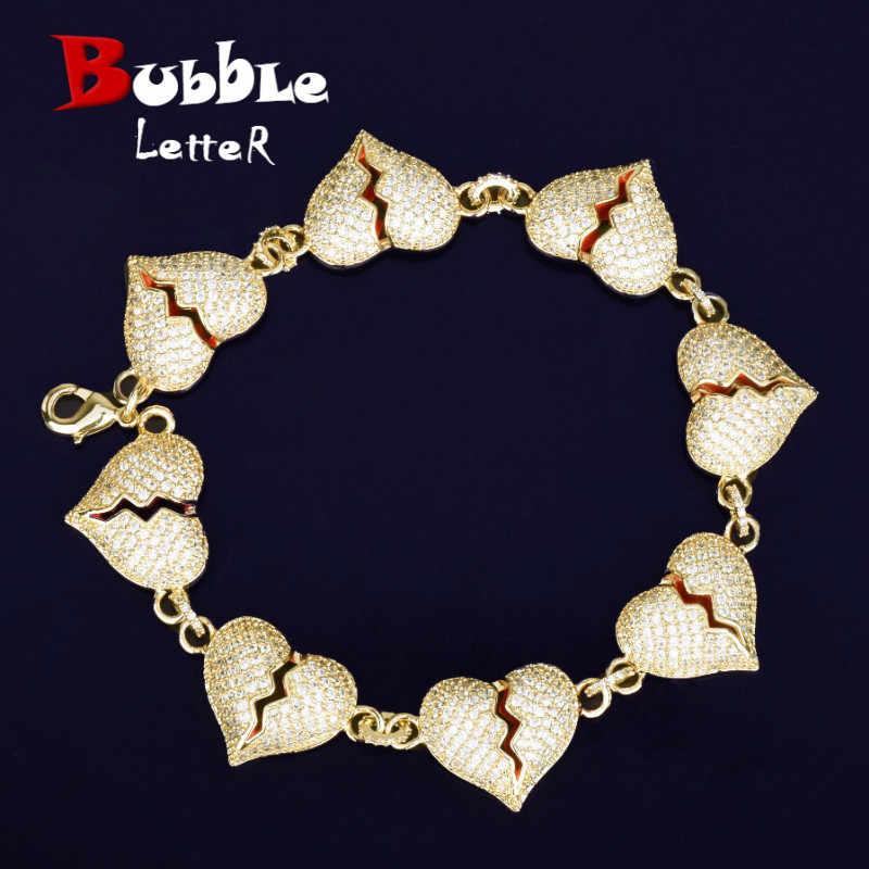 8 cal uszkodzony bransoletka z serduszkiem łańcuch złoto srebro kolor AAA Cubic cyrkon mężczyzna kobiet Hip hop biżuteria dla miłość prezent