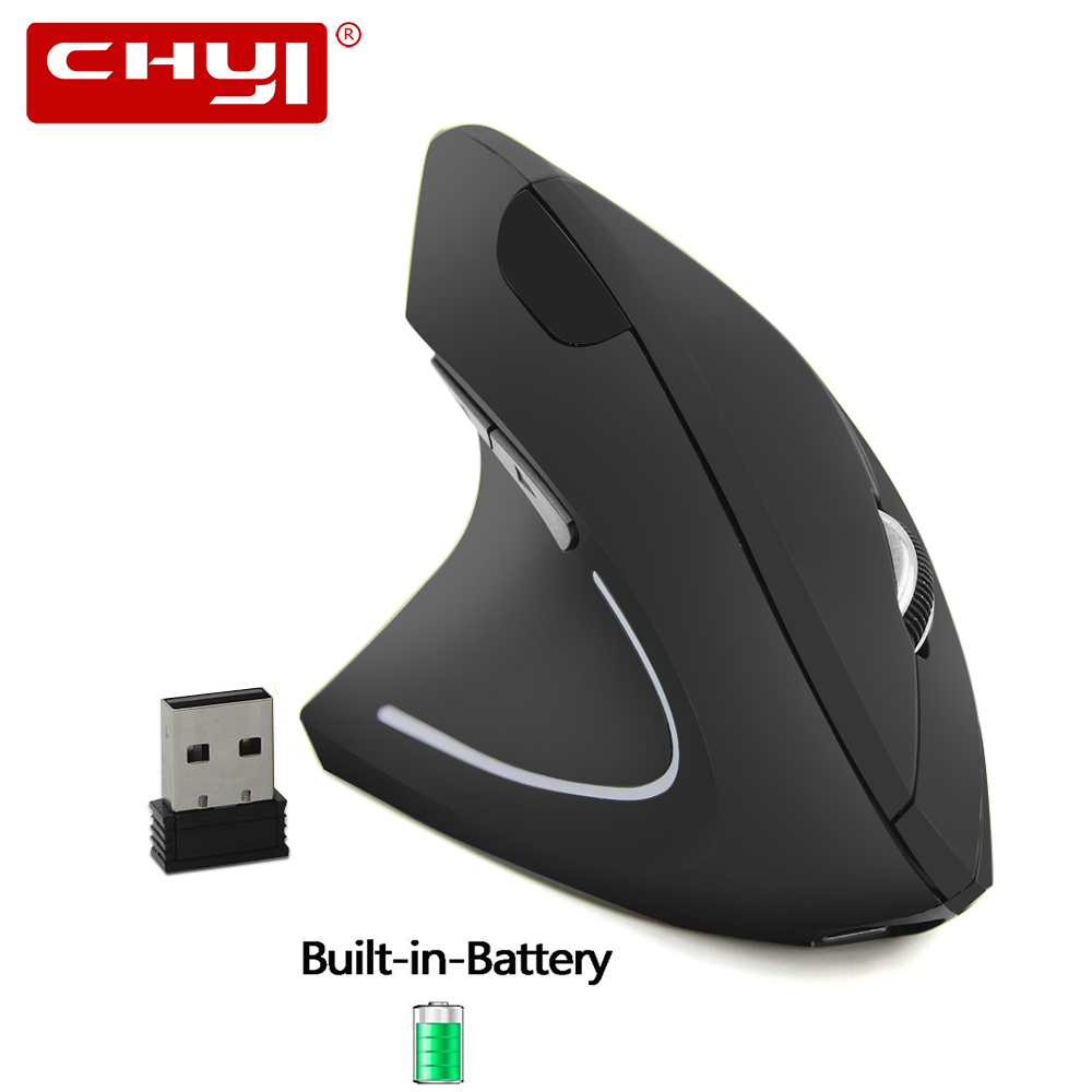 CHYI Left Hand Wireless Mouse Rechargeable Ergonomic Vertical Mause Gaming USB Optical 1600 DPI Computer 5D Mice With Mouse Pad