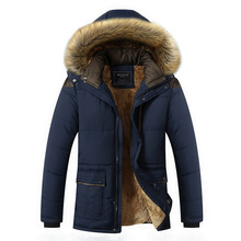 M-5XL Fur Collar Hooded Men Winter Jacket 2018 New Fashion Warm Wool Liner Man Jacket and Coat Windproof Male Parkas casaco cheap HANQIU Cotton Polyester Regular Casual Hat Detachable Wide-waisted Zipper Men coat Broadcloth 1 1kg Solid Polyester Cotton
