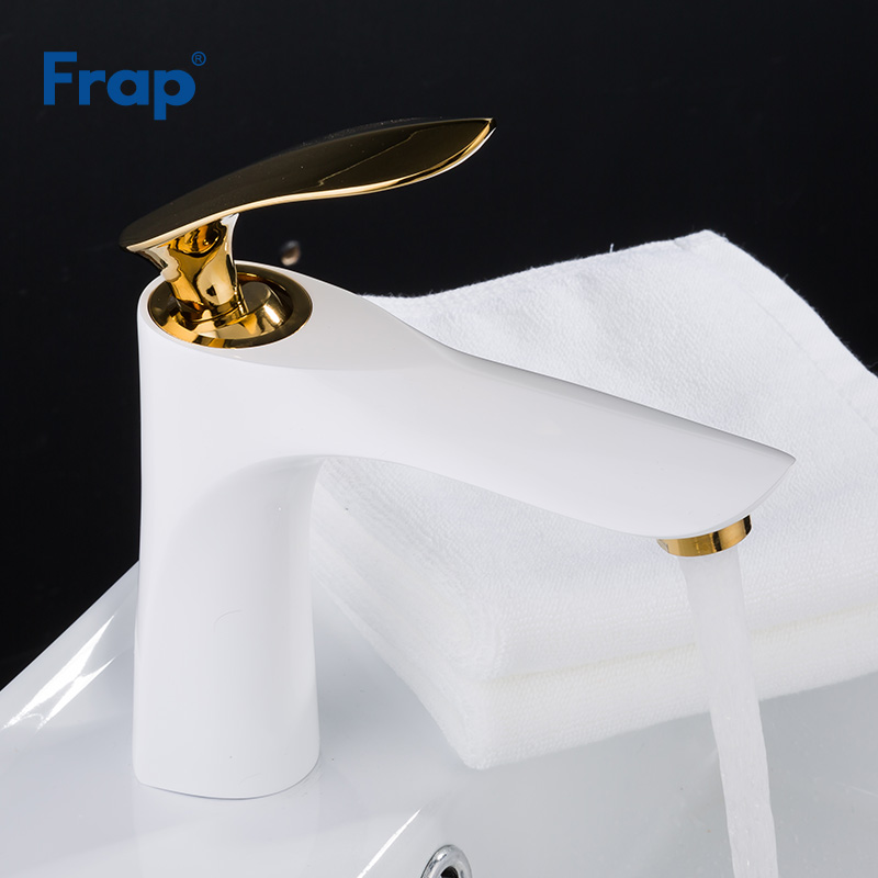 Frap New Basin Faucet Bathroom gold handle white body Painting Finish Basin Sink Tap Mixer Hot & Cold Water torneira Y10055Frap New Basin Faucet Bathroom gold handle white body Painting Finish Basin Sink Tap Mixer Hot & Cold Water torneira Y10055