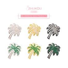 ZHUKOU 16x20 мм корейское модное Тропическое дерево кристалл кулон для женщин ручной работы DIY серьги аксессуары для изготовления украшений VD437