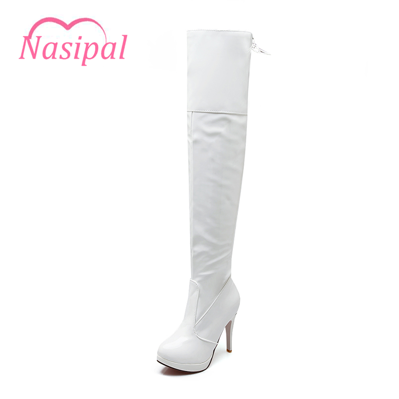 Nasipal women boots patent leather over the knee boots women black red White sexy high heels long boots Pole dancing boots C033 sexy patent leather thin heels women knee high boots big size ladies platform high heels pole dancing boots women mid calf boots