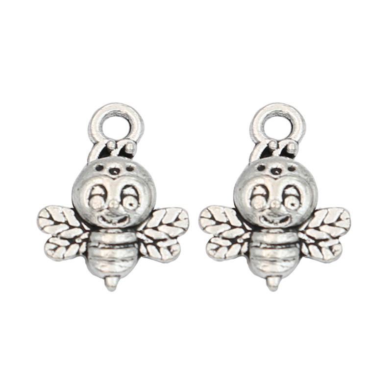 JAKONGO Antique Silver Plated Bee Charms Pendants for Jewelry Making Bracelet Findings Accessories DIY 16x12mm