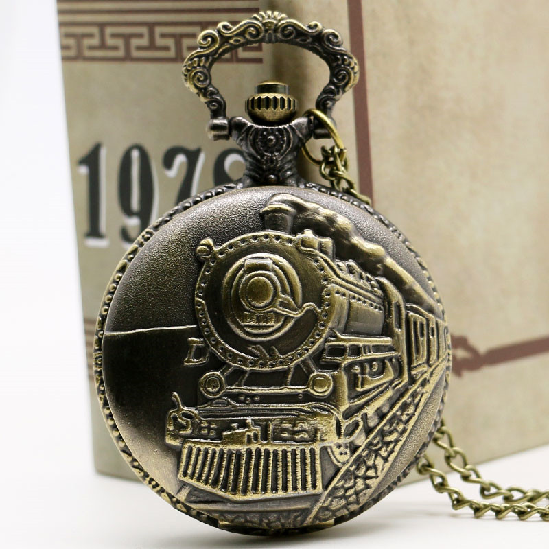 2017 New Antique Train Front Locomotive Engine Quartz Pocket Watch Necklace Pendant Watches Chain For Men Women Birthday Gifts