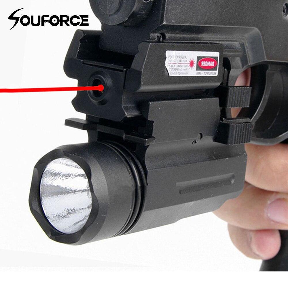 Visão a laser vermelho e glock lanterna combo tático rifle luzes para pistola glock 17,19, 22 série caça visão laser