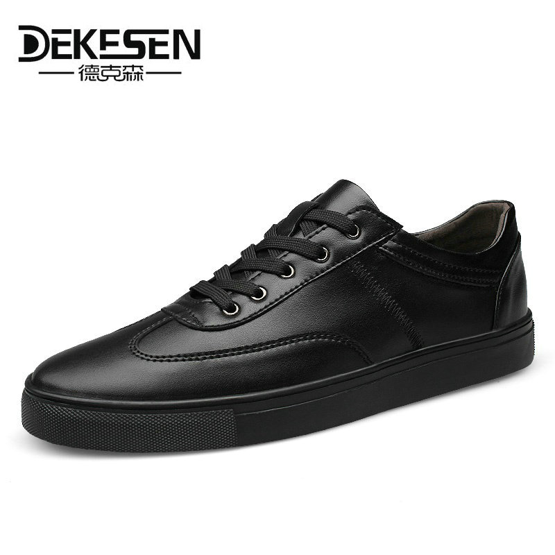 Dekesen 2018 New Spring Autumn Leather Mens Casual Shoes, Fashion shoes for Men, Lace-Up Black White Sneakers Shoes Size 35~49 mens s casual shoes genuine leather mens loafers for men comfort spring autumn 2017 new fashion man flat shoe breathable