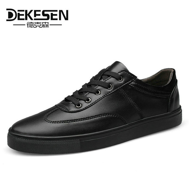 Dekesen 2018 New Spring Autumn Leather Mens Casual Shoes, Fashion shoes for Men, Lace-Up Black White Sneakers Shoes Size 35~49