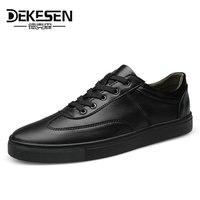 Dekesen Plus Size 35 52 Fashion Genuine Leather Men Casual Shoes 2017 New Arrive White Shoes