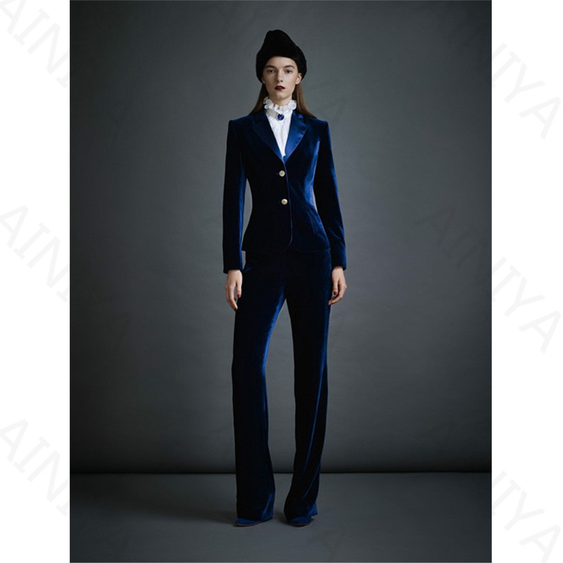 Dark Blue Velvet Womens Business Suits Formal Office Pant Suits Female Work Wear 2 Piece Sets Slim Fit Uniform Designs Blazers