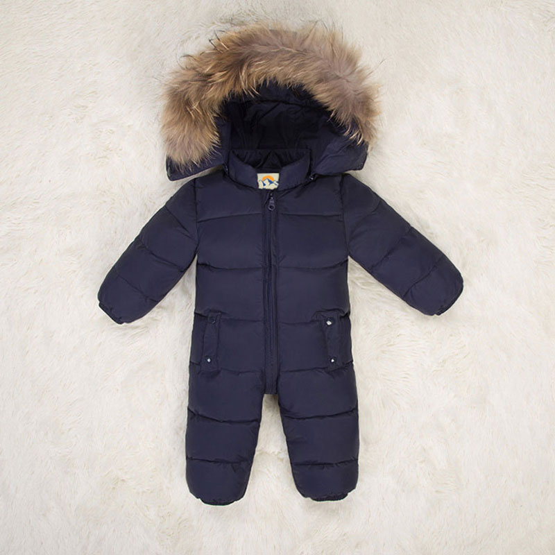 Printemps automne enfants combinaison fourrure à capuche chaud canard vers le bas barboteuse enfants salopette onesies garçons filles snowsuit neige porter des vêtements