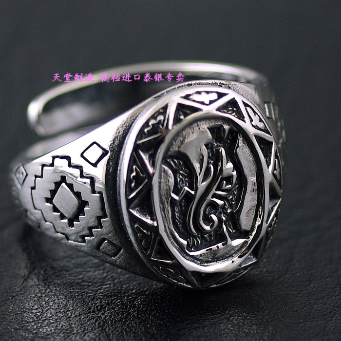 Imported from Thailand GV new design 925 sterling silver ring opening, the lone wolf lone wolf