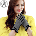 PTAH Winter Women Wool Gloves Wrist Bow Plaid Mittens Luxury Thickened Warmth Iglove Ladies High Quality Luvas Guantes PT9851