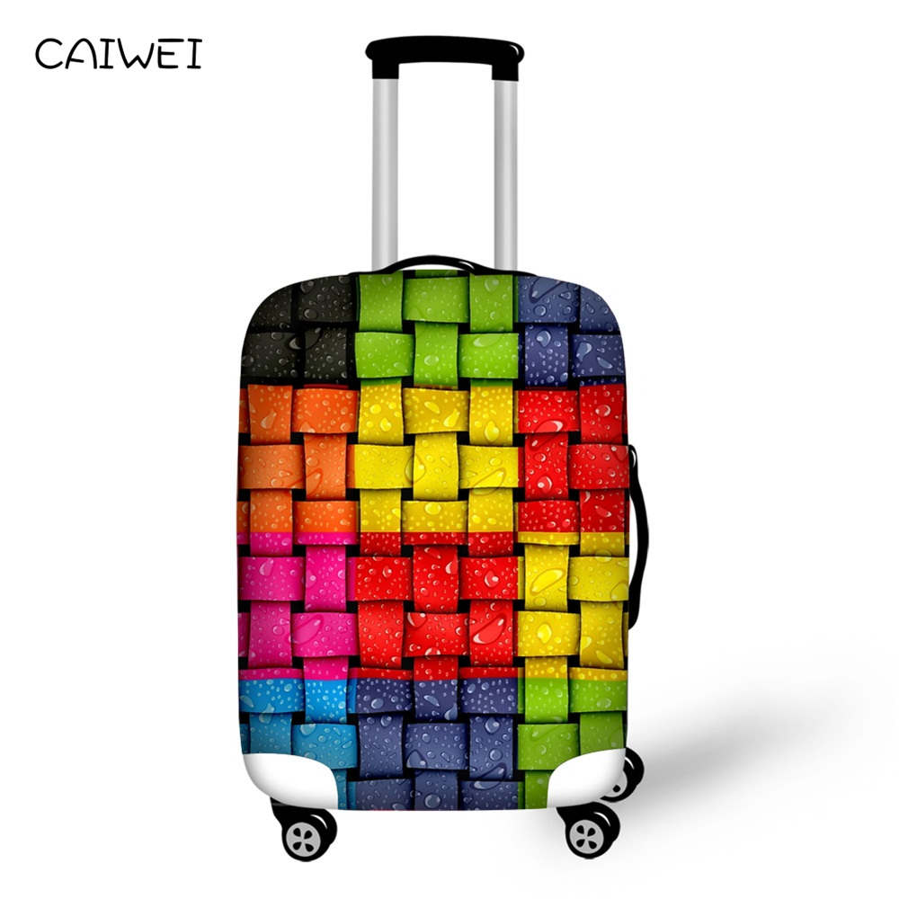 Waterproof Case Cover Mixed Color Plaid Elastic 18-30 inch Luggage Protective Covers Travel Accessories Suitcase Luggage Cover