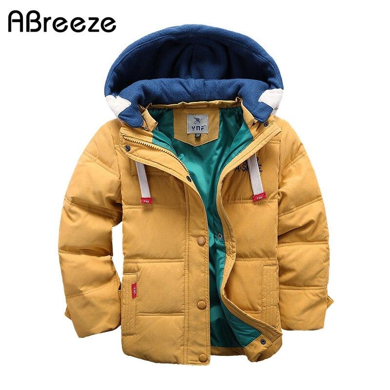 Abreeze/детские пуховики и парки От 4 до 10 лет Зимняя Детская Верхняя одежда Повседневная теплая куртка с капюшоном для мальчиков, однотонные те...