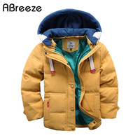 2016 New Children Down Parkas 4 10T Winter Kids Outerwear Boys Casual Warm Hooded Jacket For