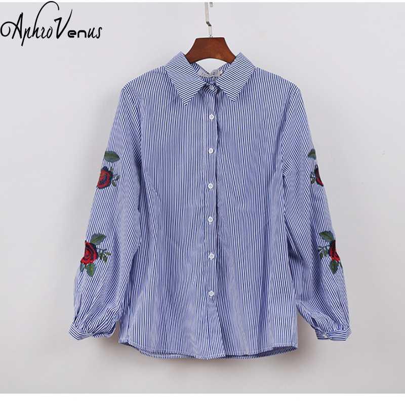 9e524967066 ... блузка блузки женские с вышивкой рубашка женская blusas feminina verão  Розовая цветочная вышивка полосатая блузка рубашки ...