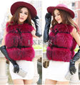 Fashion Genuine Raccoon Fur Waistcoat For Womens Slim Gilet Ladies Fluffy Fur Vest Sleeveless Winter Outwear Plus Size AU00106-1