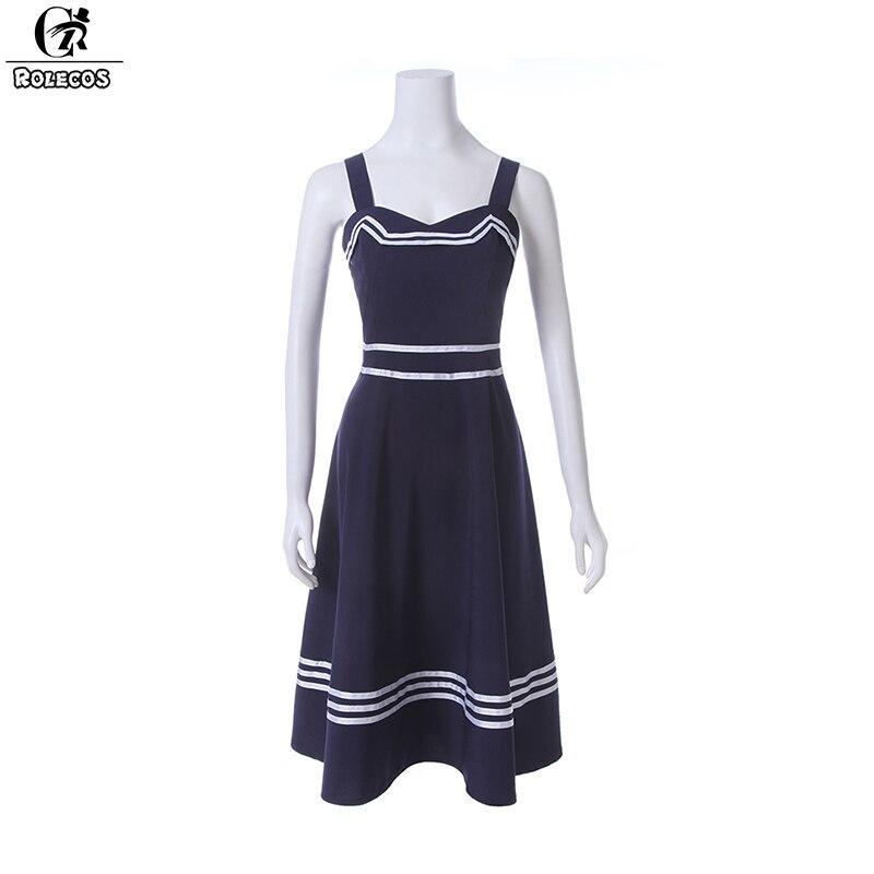 ROLECOS 2018 nouvelle mode femmes robe couleur bleu marine Preppy Style Camisole robe d'été Style sans manches femmes robes décontractées