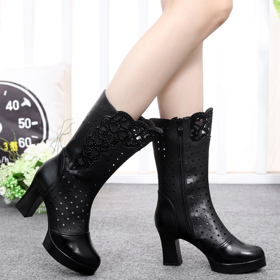 2018 New Arrival Spring Autumn Fashion Genuine Leather Cut Out Crystal Thick High Heels Half Boots Lady Summer Breathable Boots