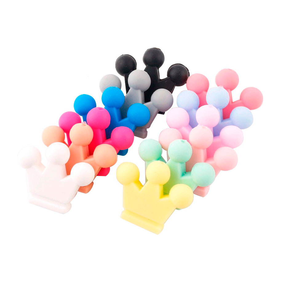 10PC Baby Silicone Teether Crown Silicone Beads For Pacifier Chain Chewing DIY Crafts Beads Necklace Pendant Kid Products Toys