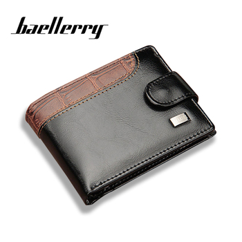 Baellerry Newest Fashion Short Men Wallet Photo Holder Coin Pocket PU Leather Zipper & Hasp Men's Purse Money Bag