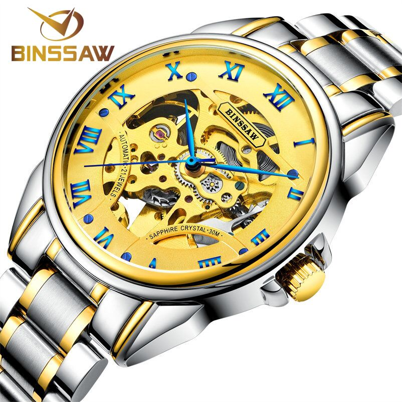 Fashion Luxury  Brand BINSSAW Men Watches 2017 New automatic Mechanical Watch Gold Male skeleton Wristwatch relogio masculino new ik gold skeleton lxuury watch men silver steel automatic mechanical watches mens fashion business dress wristwatch relogio