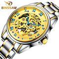 Moda de luxo da marca binssaw homens relógios 2016 novo relógio mecânico automático relógio masculino ouro esqueleto relógio de pulso relogio masculino