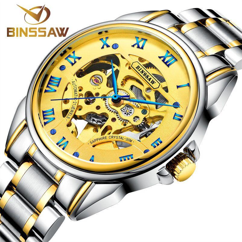 4c9f948e3b4 ... Moda de Luxo da Marca Binssaw Homens Relógios 2017 Novo Relógio  Mecânico Automático Masculino Ouro Esqueleto de Pulso ...