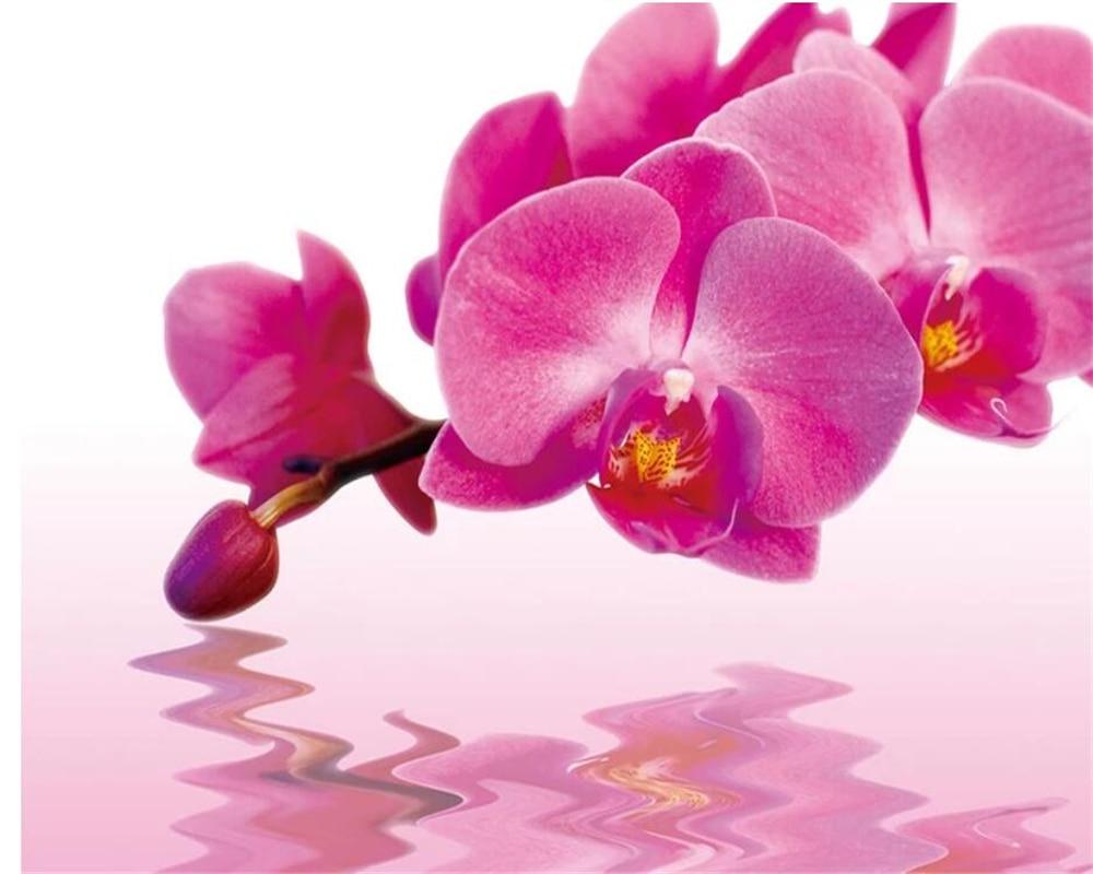 Beibehang Custom silk cloth wallpaper Phalaenopsis water flower reflection flower flower mural papel de parede 3d wallpaper