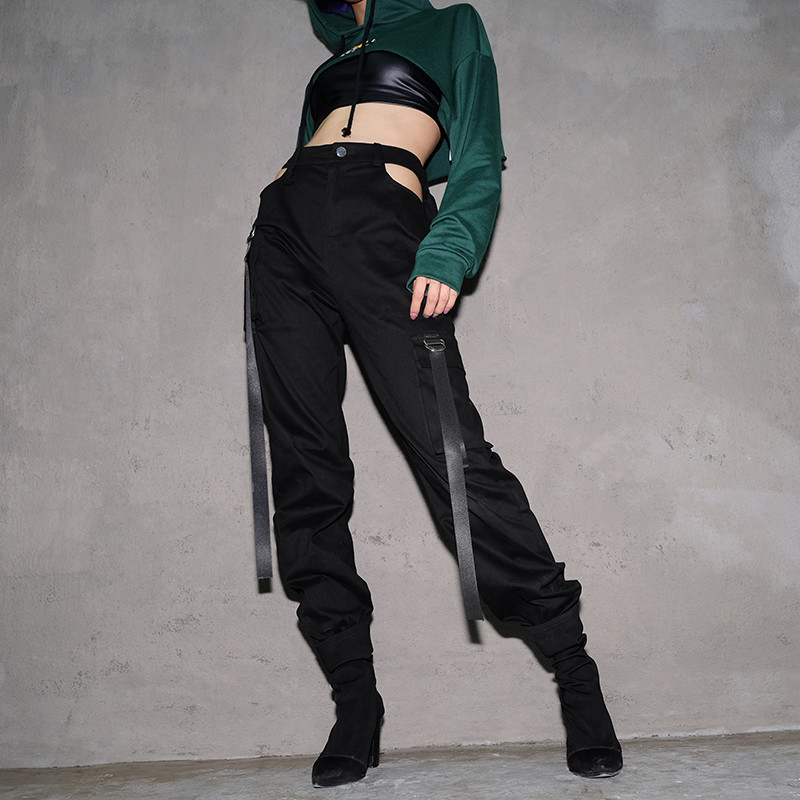 2018 Sexy Cut Out Womens Pocket Patchwork Pants Lady Skinny Leggings Pants Sexy Club Party Trousers Hollow Out Pantalon Femme