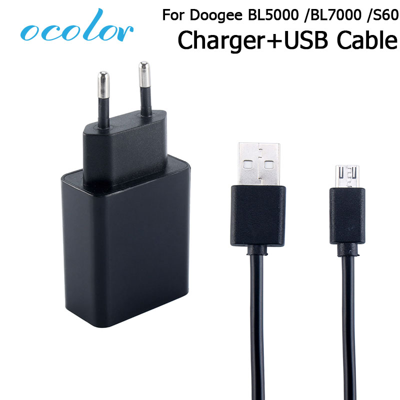 ocolor For Doogee BL5000 BL7000 S60 S60 Lite Charger+USB Data Cable Plug Charging Head For Doogee BL5000 BL7000 S60 Mobile Phone