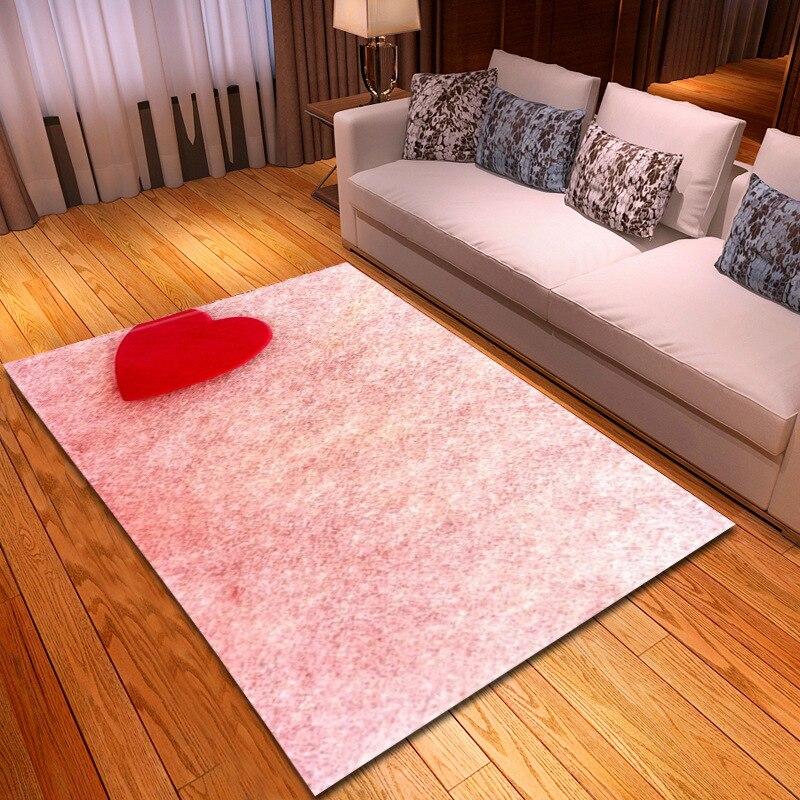 Amour coeur imprimer tapis solide pour salon grande taille anti-dérapant chambre/couloir couverture douce Tapete tapis décor maison cadeau