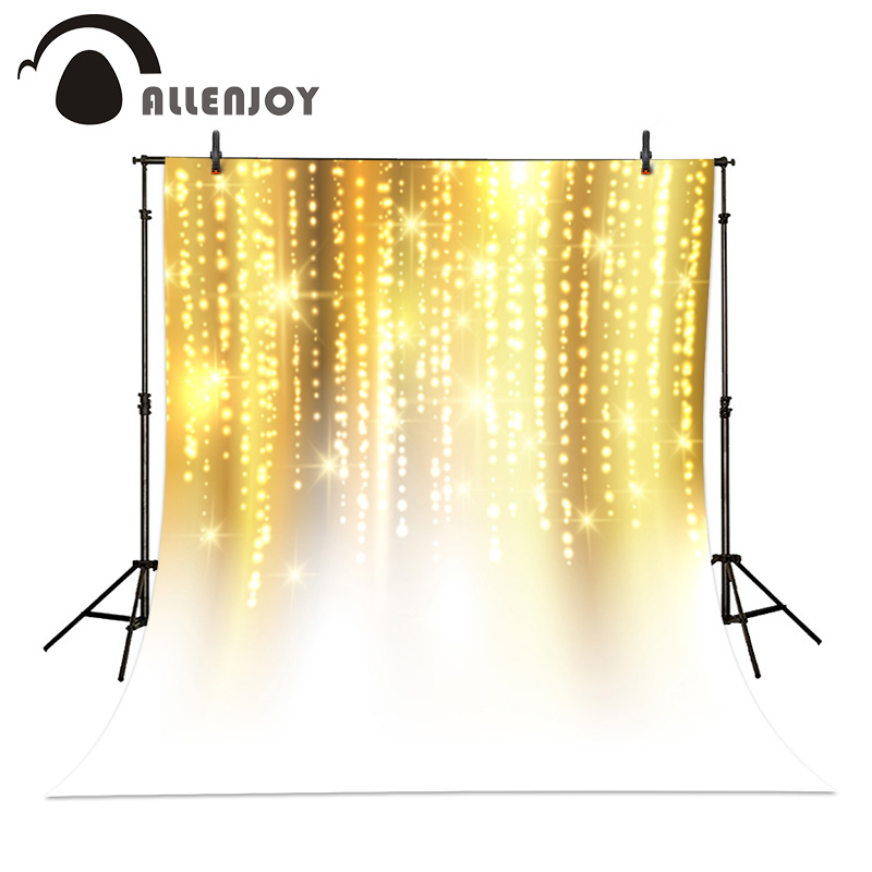 Photographic background Gold Light Glitter Lights Bokeh Sparkly Allenjoy vinyl photo Backdrop Festive Shiny computer printed