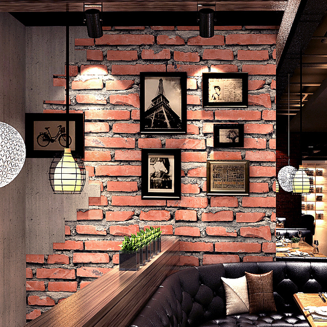 Retro Cafe Bar Restaurant Red Brick Wallpaper 3D Embossed Imitation Brick  Wall PVC Waterproof Eco