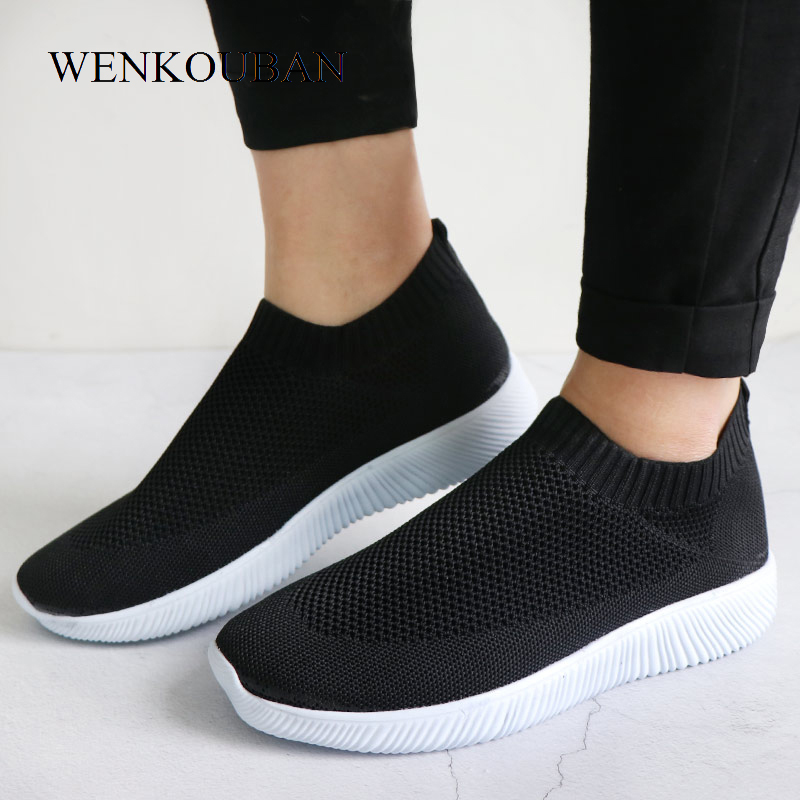 HTB1h6c.PNYaK1RjSZFnq6y80pXaA - Women Sneakers Fashion Socks Shoes Casual White Sneakers Summer knitted Vulcanized Shoes Women Trainers Tenis Feminino