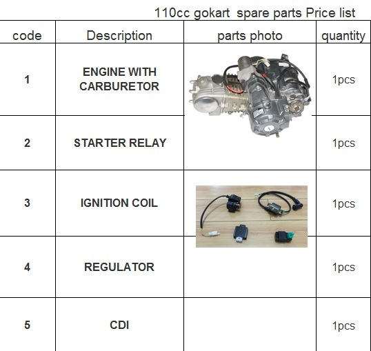 ENGINE WITH CARBURETOR/IGNITION COIL/REGULATOR/CDI/STARTER RELAY OF 110CC GOKART FROM YONGHE