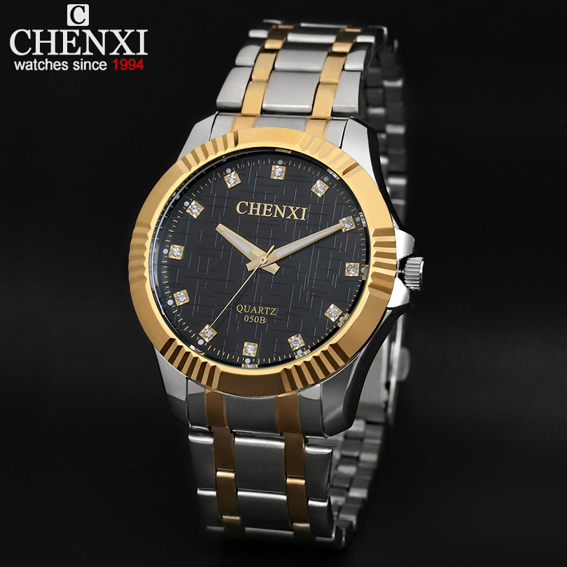 Gold Band Full Steel Men Quartz Watch Luxury Rhinestone Scale Decoration Business Wristwatch For Man Elegant Gift Watches Male
