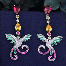 GODKI Luxury Multicolor Phoenix Full Cubic Zirconia CZ Engagement Wedding Party Nightclub Silver Statment Earring Stud
