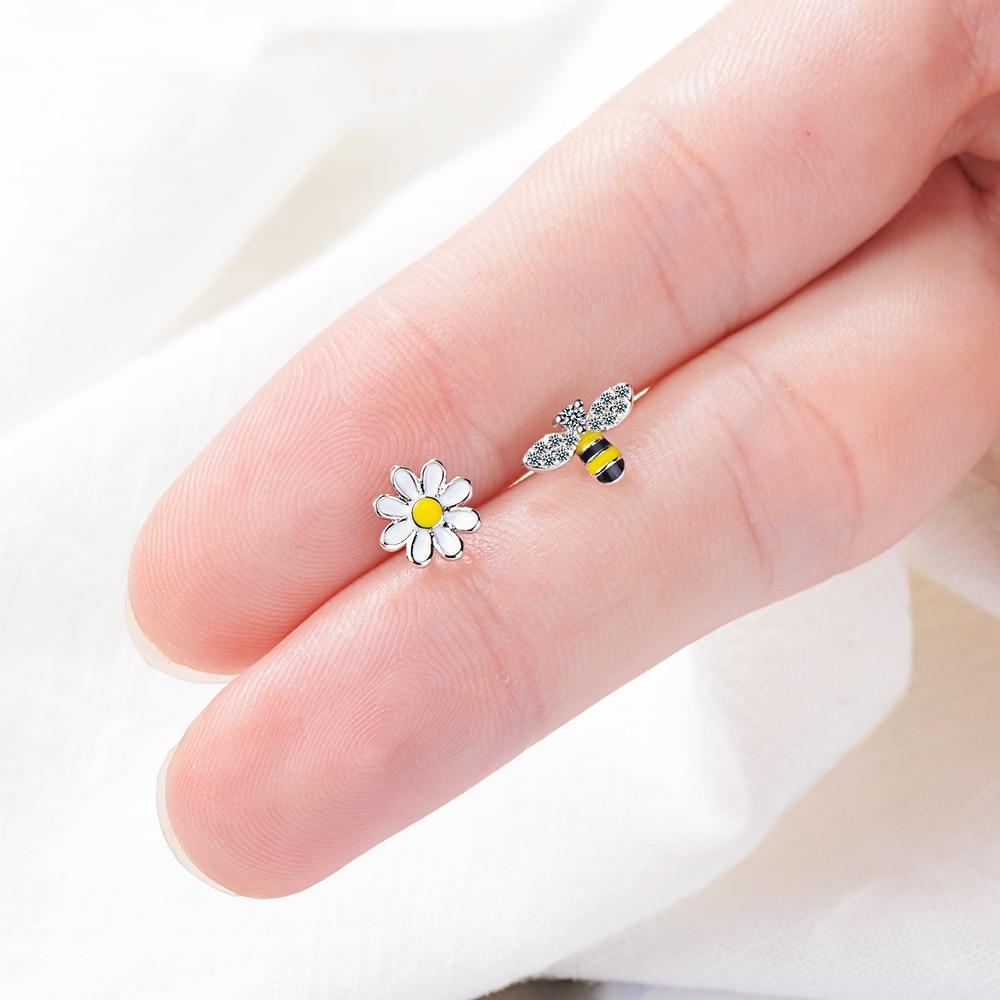 Todorova Lovely Asymmetric Bee Sun Flower Zircon Crystal Earrings For Women Girl Korean Style Earrings Boucle D'oreille