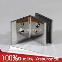 304 Stainless steel Casting 90 Degree Frameless Shower Door Hinges Wall to Glass Fixed Glass Clamps