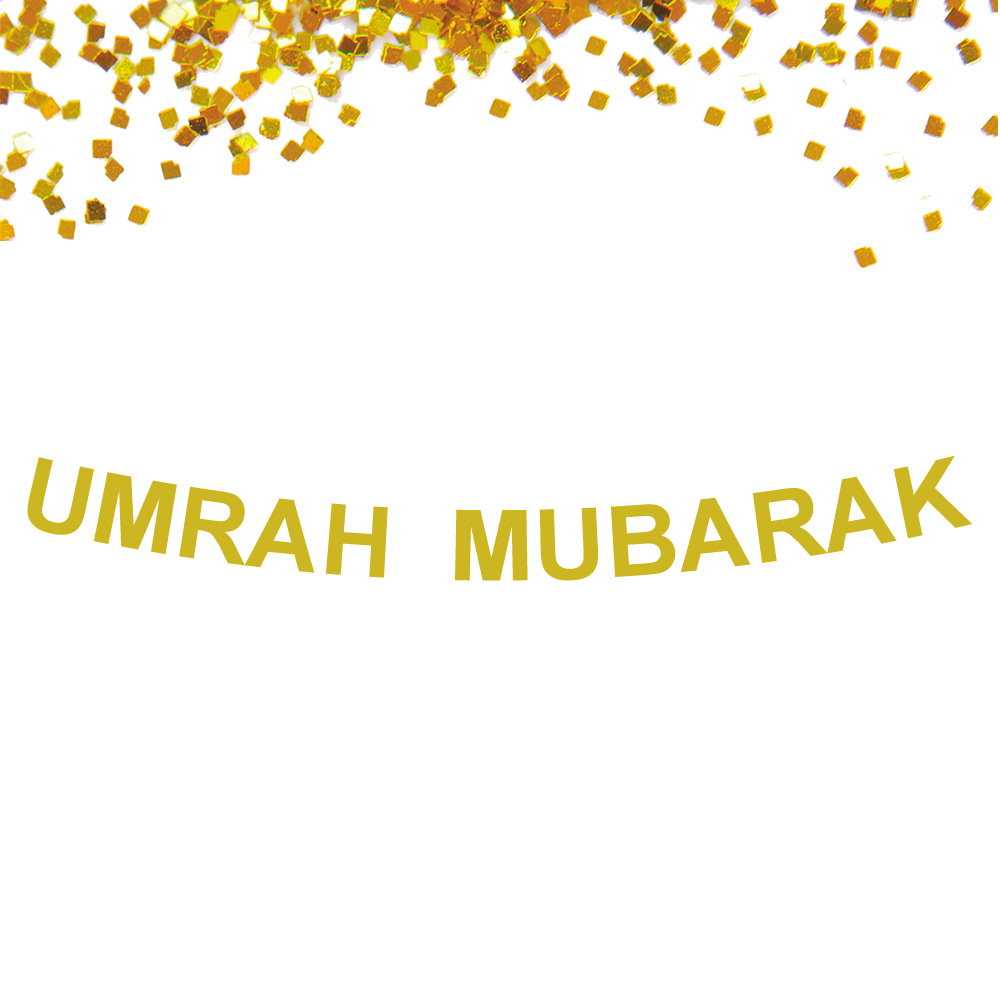 Umrah Banner: 1 Set Custom Banner Glitter Gold Umrah Mubarak Ramadan