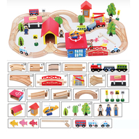 akitoo 69PCS Wooden Train Track Set Assembling Toy Children Camphor Wood Variety Imported Beech best gift hqpk