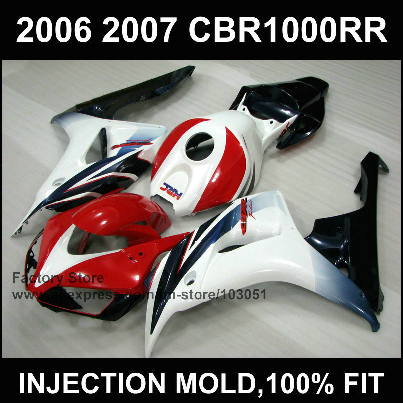 Custom ABS Injection Motorcycle Fairings kits for HONDA 06 07 CBR 1000RR 2006 2007 CBR1000RR Fireblade red white  fairing parts aftermarket free shipping motorcycle parts eliminator tidy tail for 2006 2007 2008 fz6 fazer 2007 2008b lack