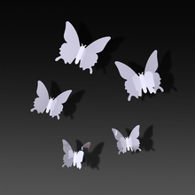 TIE LER 24 PCS Fashion Personality Mirror Sliver 3D Butterfly Wall Stickers Party Wedding Decor DIY Home Decorations