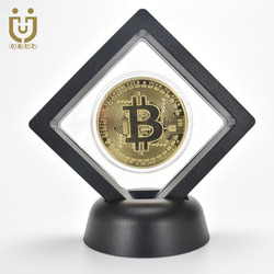 Fashion Gift Bitcoin Bit Coin Litecoin Ripple Ethereum Cryptocurrency Metal Commemoration Metal Coin with Showing Stand