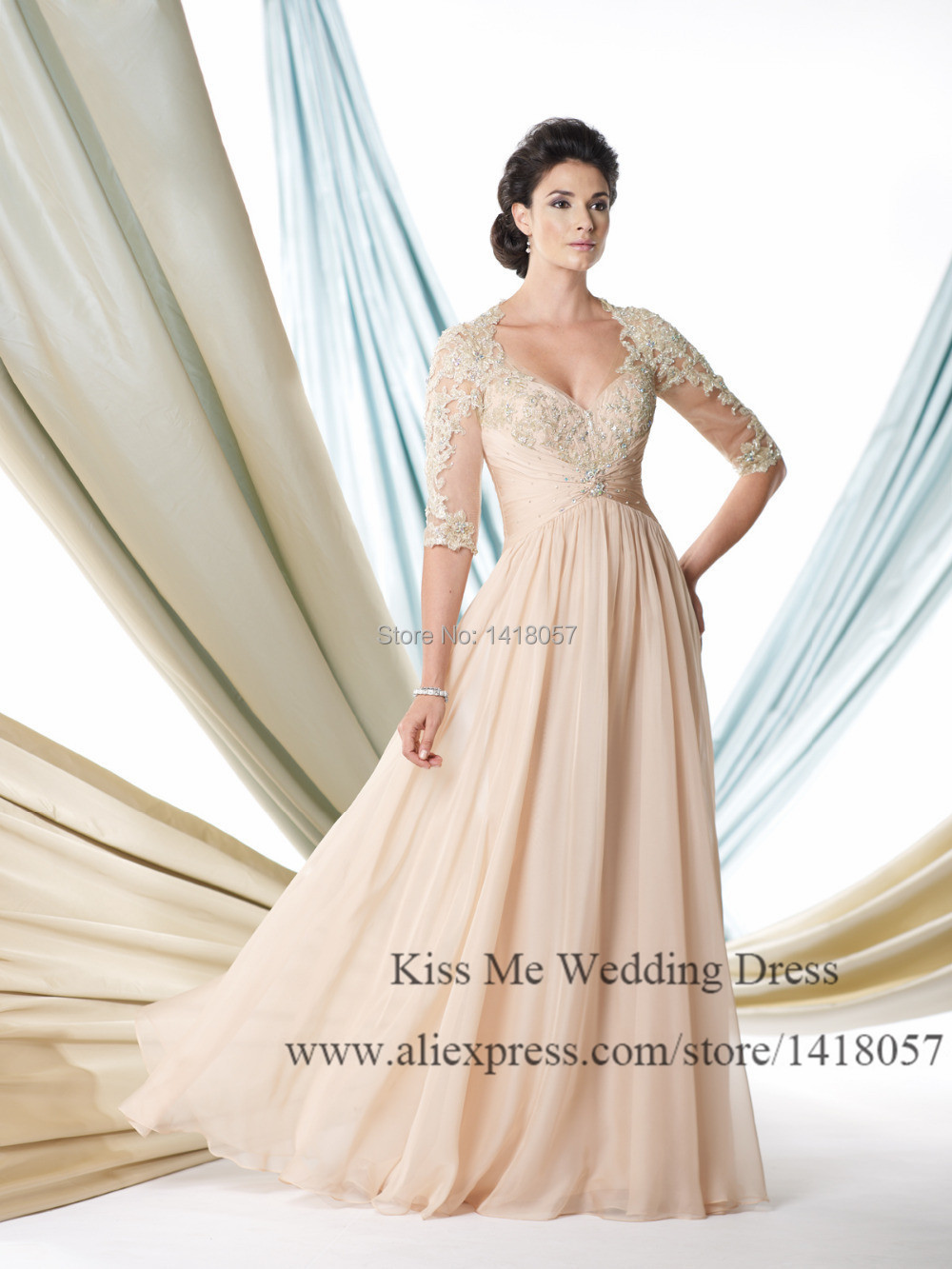 2015 Elegant Champagne Plus Size Mother Of The Bride Dresses With