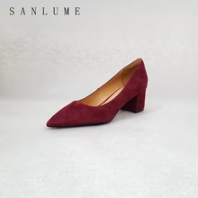 SANLUME NEW Autumn Wine Suede Block Chunky Pumps Women Office Shoes Woman High Heels Career Genuine leather Slip On Pointed Toe недорго, оригинальная цена