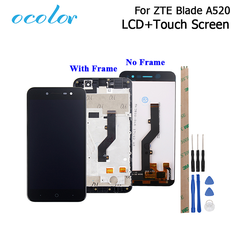 ocolor 5.0 inch For <font><b>ZTE</b></font> <font><b>Blade</b></font> <font><b>A520</b></font> LCD Display and Touch <font><b>Screen</b></font> With Frame Digitizer Assembly Replacement With Tools+Adhesive image