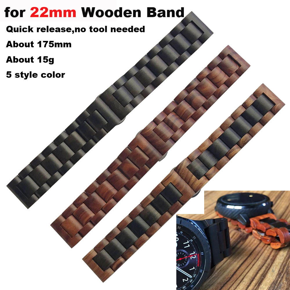 20/22mm For Xiaomi Huami Amazfit GTS Bip GTR 47mm 42mm Pace Stratos 2 2s 3 Wooden Bracelet Watch Strap For Huawei For Samsung|Smart Accessories| |  - title=